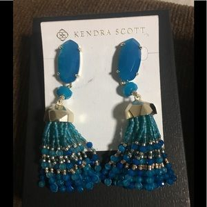 Kendra Scott Dove Statement Aqua Tassel Earrings